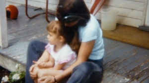 Me and my oldest daughter, Michelle, lingering a few minutes on the babysitter's porch.