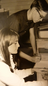 Melodie Miller and Rodney Maust as business managers for the Bethany yearbook, The Witmarsum.